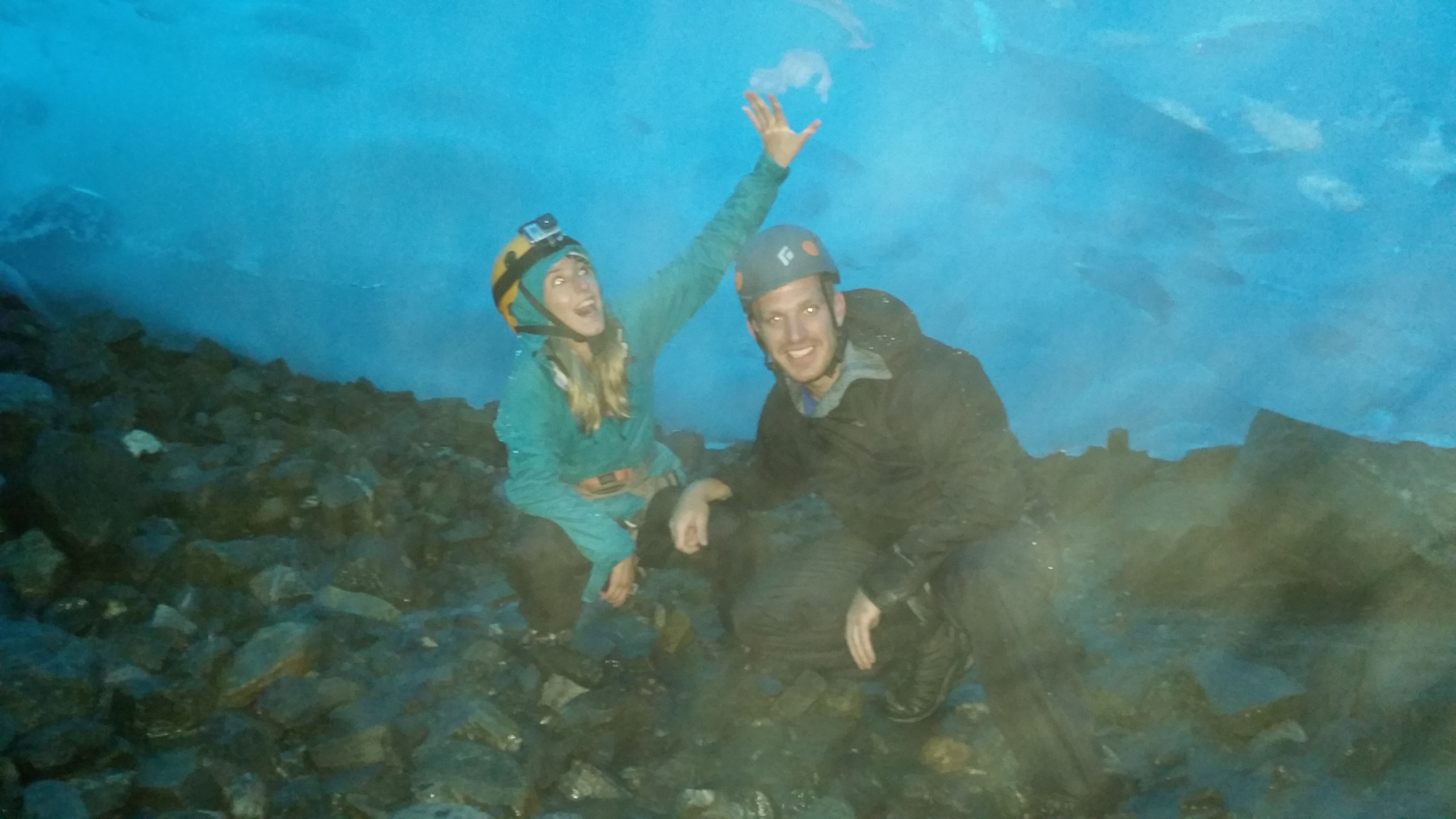 touching the ice cave!