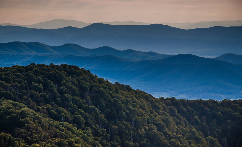 Layers of ridges of the Blue Ridge Mount