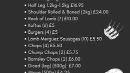 Updated Meat Menus