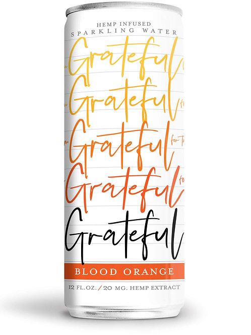 Blood orange-flavored sparkling CBD water from Grateful Water
