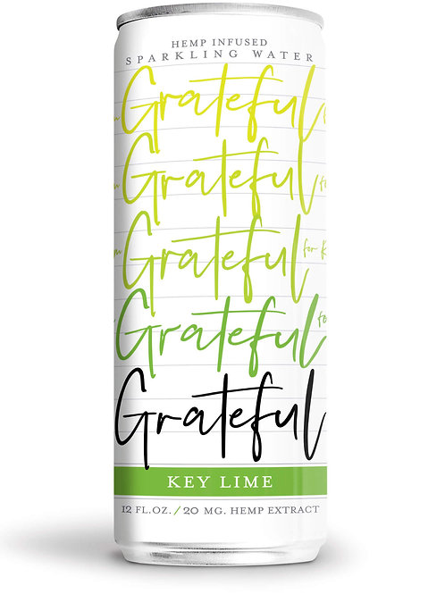 Lime-flavored sparkling hemp/CBD water from Grateful Water