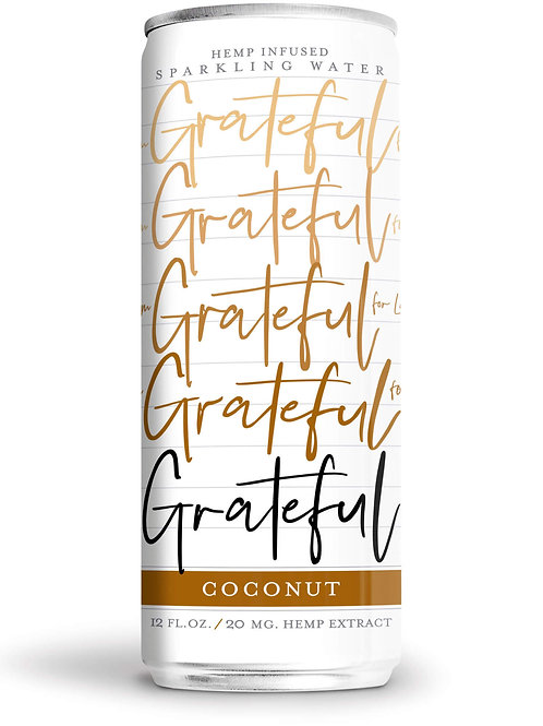 Coconut-flavored sparkling CBD water from Grateful Water