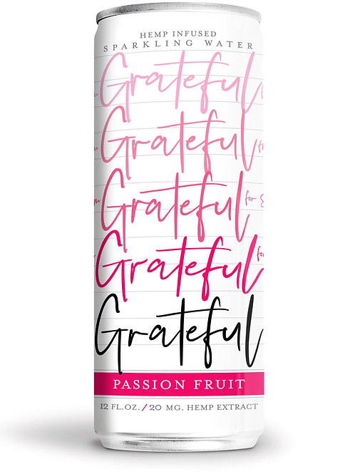 Passion fruit-flavored sparkling CBD water from Grateful Water