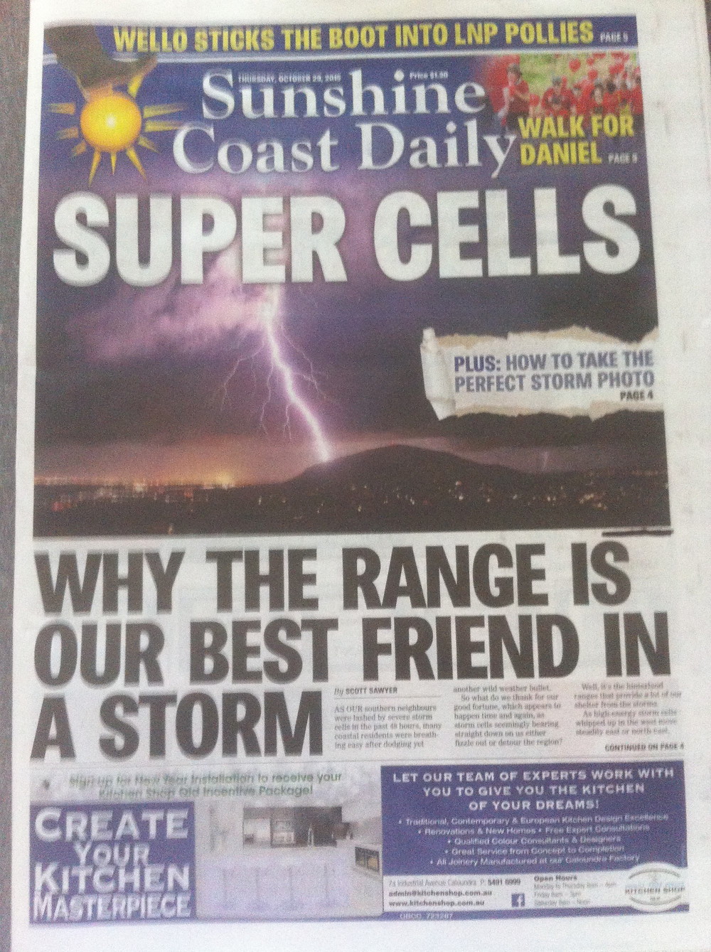 Front page of the local paper
