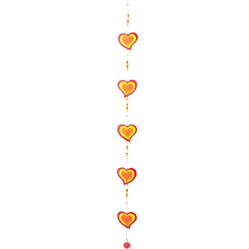 Red / Yellow String of Hearts Suncatcher