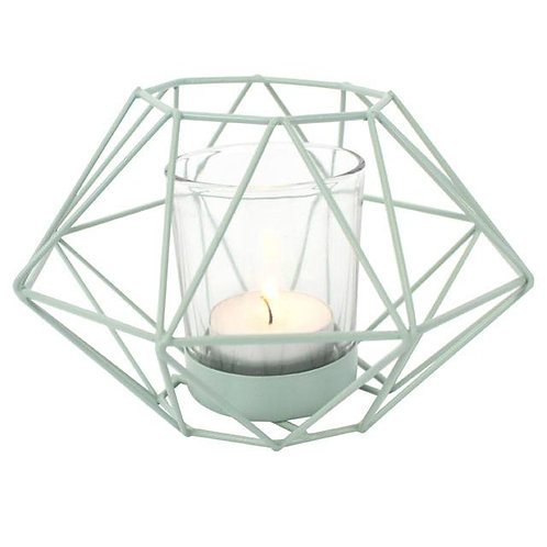 Green Geometric Wire Candle Holder