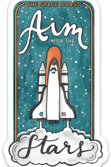 Aim for the Stars Space Coast Sticker by Jelly Press