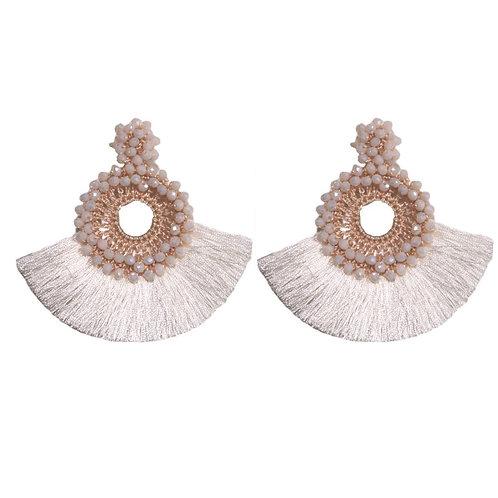 White Fan Tassels Earrings by St. Armands Designs of Sarasota