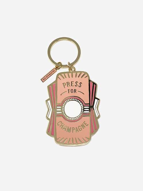Press for Champagne Keychain by Idlewild Co.
