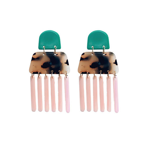 Pink and Teal Tortoise Acrylics Earrings by St. Armands Designs of Sarasota