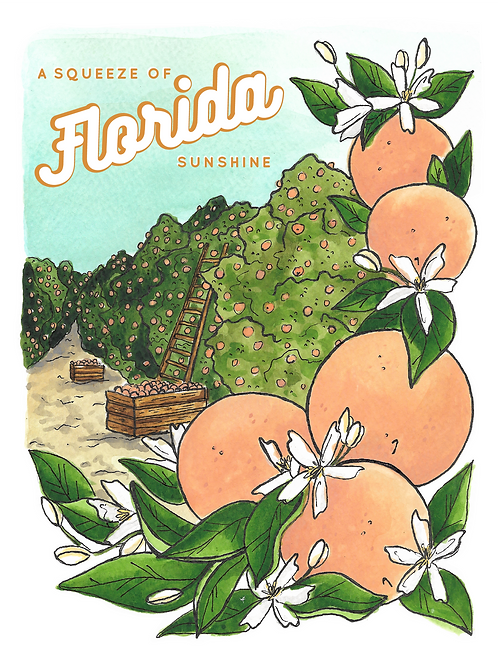 A Squeeze of Florida Sunshine Print by Jelly Press