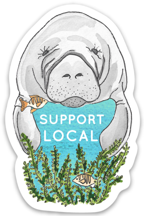 Support Local Manatee Sticker by Jelly Press