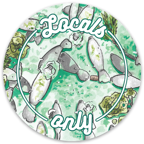 Locals Only Manatee Sticker by Jelly Press