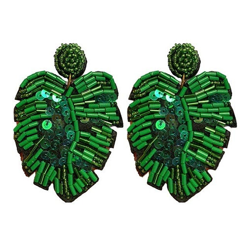 Green Sequin Monstera Earrings by St. Armands Designs of Sarasota