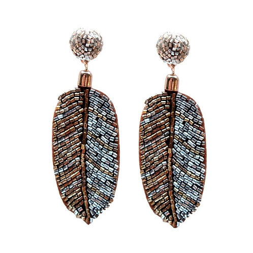 Metallic Seed Bead Palm Drop Earrings by St. Armands Designs of Sarasota