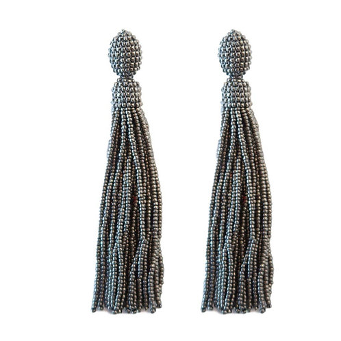 Silver Seed Bead Holiday Tassel Earrings by St. Armands Designs of Sarasota