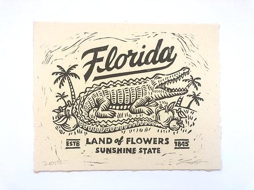 Florida Linocut Print Bad Utility