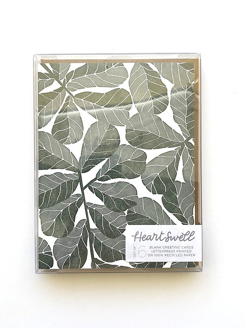 Fiddle Leaf Boxed Set of 6 Notecards by HeartSwell