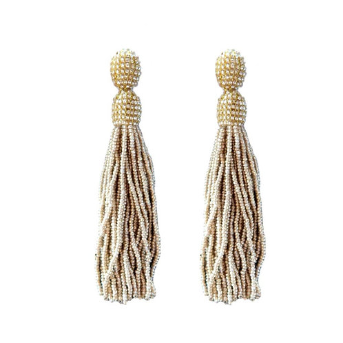 Gold Seed Bead Holiday Tassel Earrings by St. Armands Designs of Sarasota