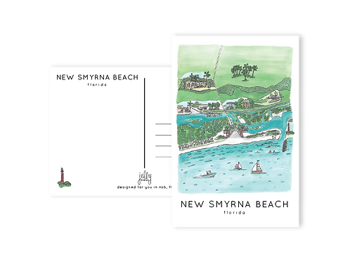 New Smyrna Beach Aerial Postcard by Jelly Press