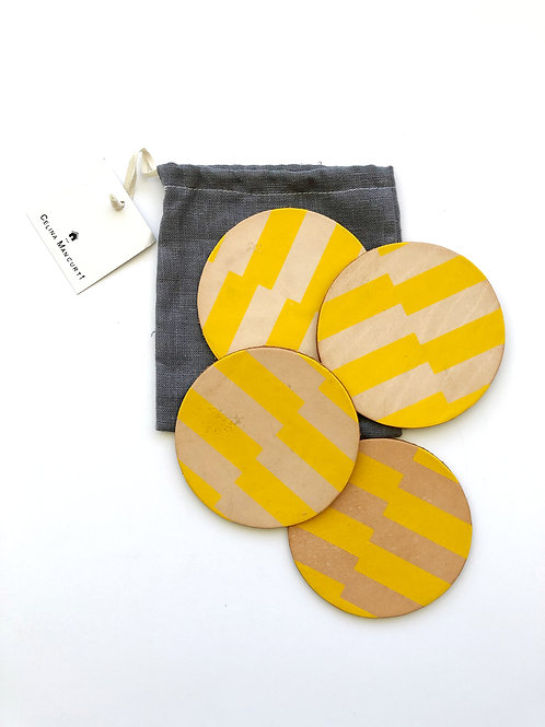 Set of 4 - Yellow Stripes Leather Coasters by Celina Mancurti