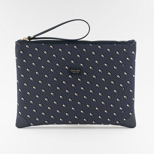 pochette borsa a mano bluin seta con stampa floreale e finiture in pelle