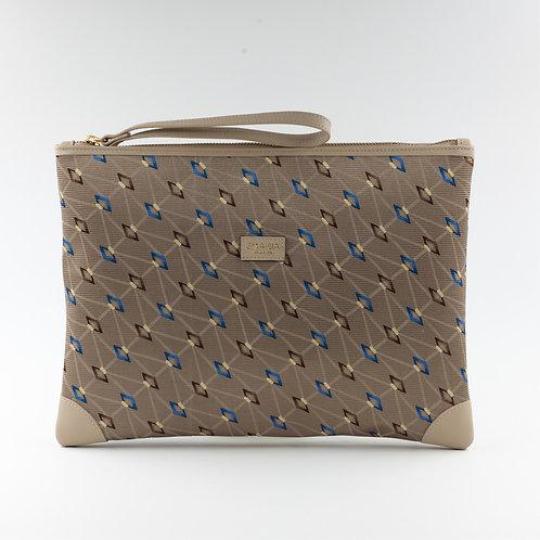 Pochette borsa a mano beige in seta con stampa geometricae pelle