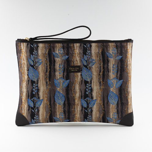pochette borsa a mano marrone in seta con stampa florealee finiture in pelle