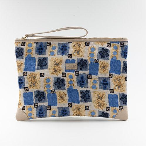 pochette borsa a mano beigein seta con stampa fantasiae finiture in pelle