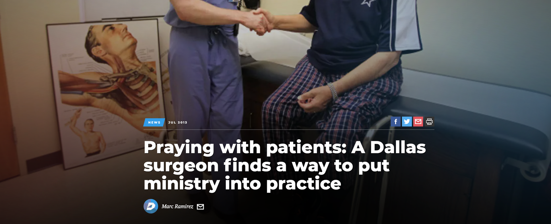 Dallas Morning News article about praying with patients