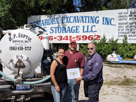 U.P. Septic Services, Inc. presented with First Dollar