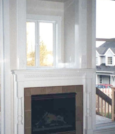 White Double Fireplace Mantel