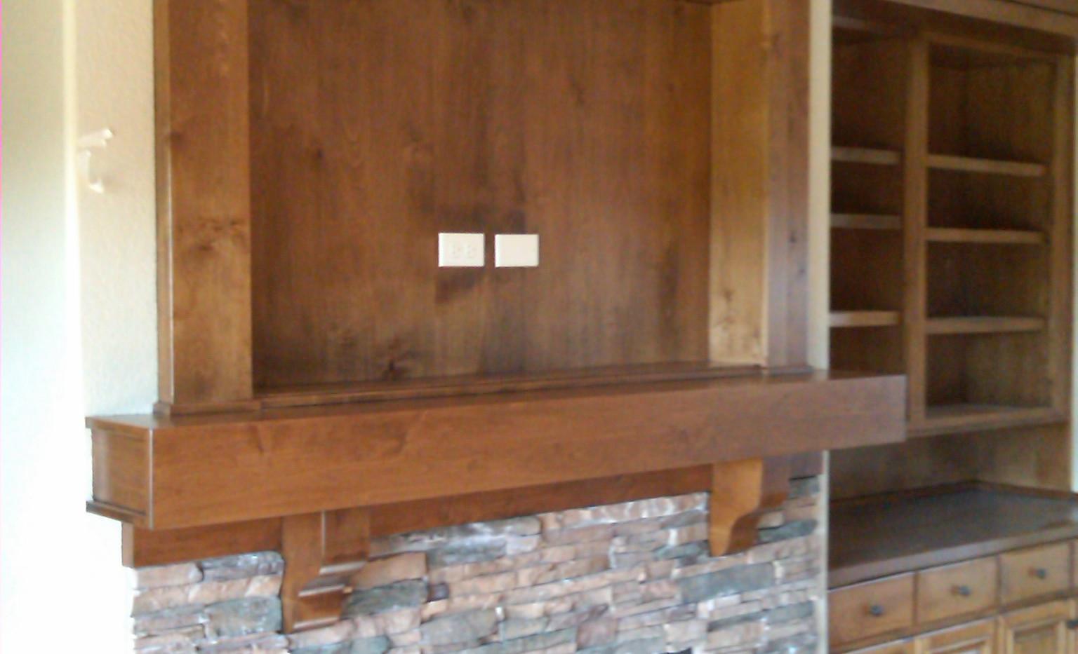 Rustic TV Cabinet and Box Beam Mantel
