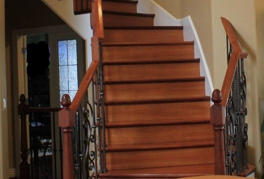 Before Photo of the Brazilian Teak Stair Make Over