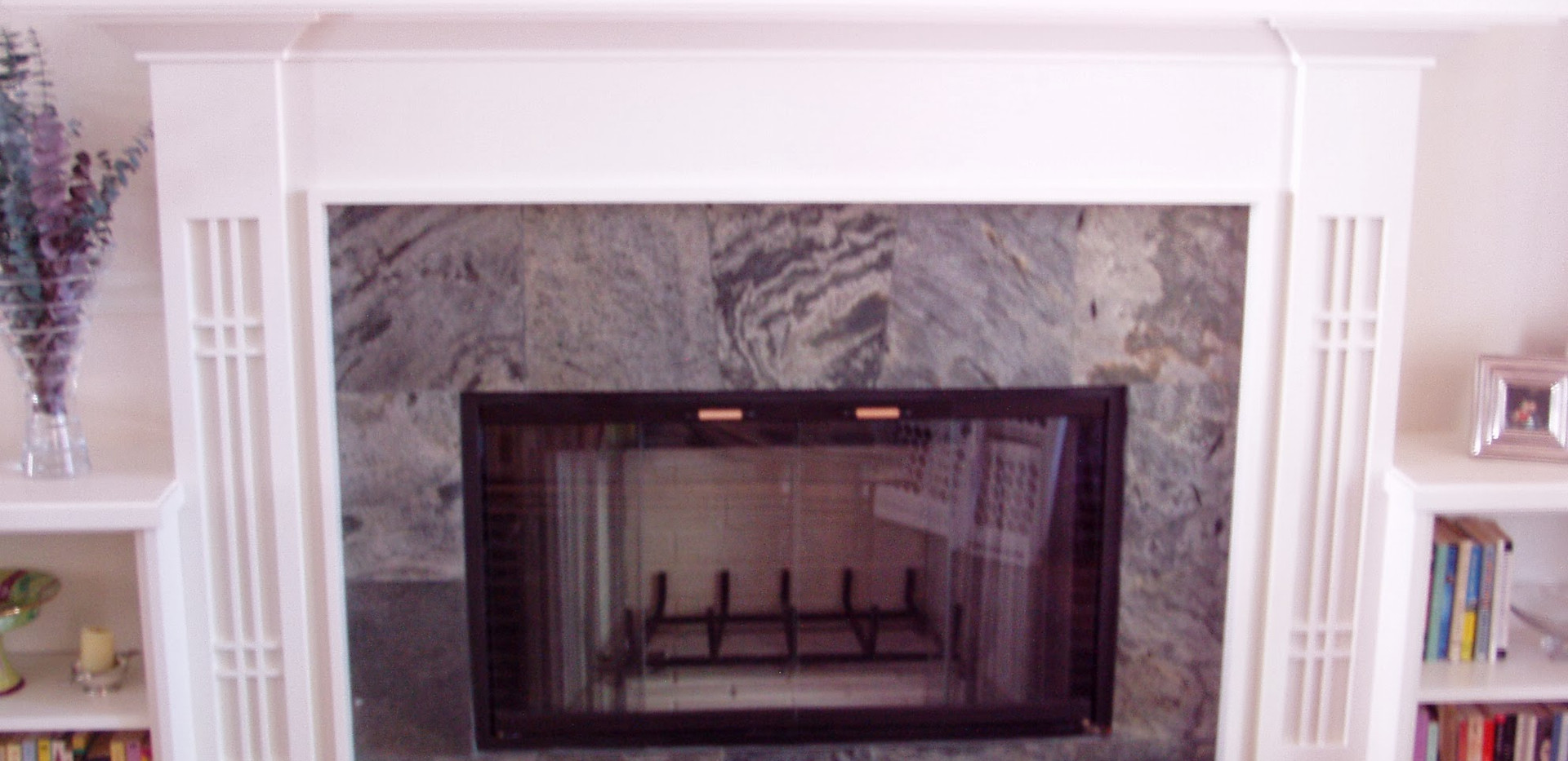Shaker Style White Fireplace Mantle