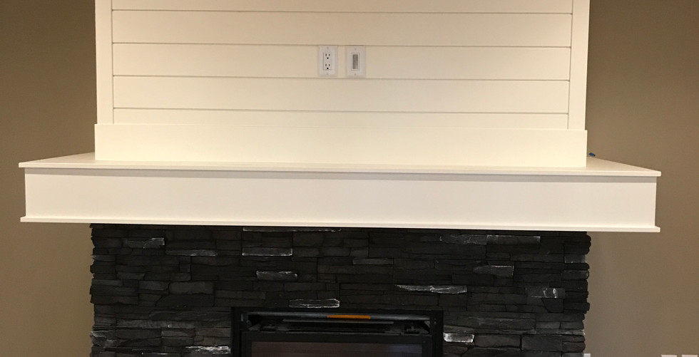 White Box Beam Mantle with Wall Planking
