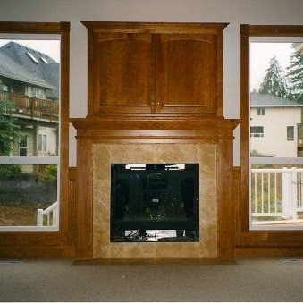 American Cherry Fireplace Mantel and TV Cabinet