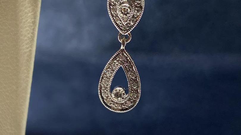 14K White Gold Leverback Earrings