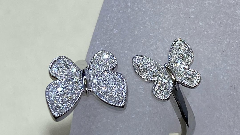 14K White Gold Butterfly Ring