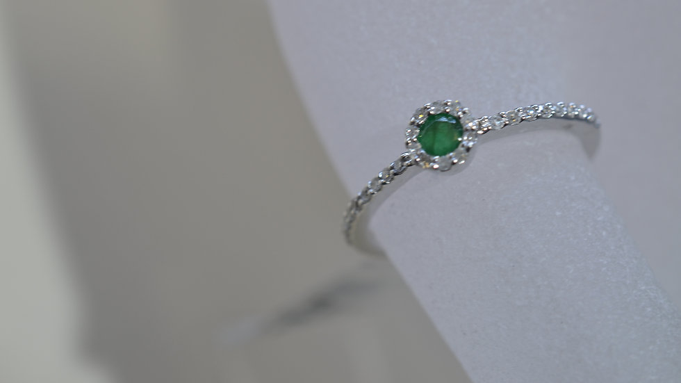 Stackable 14K White Gold Emerald Ring with Diamonds