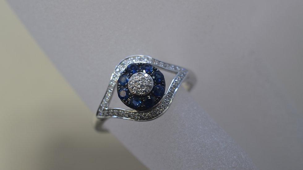 14K White Gold Sapphire Eye Ring with Diamonds