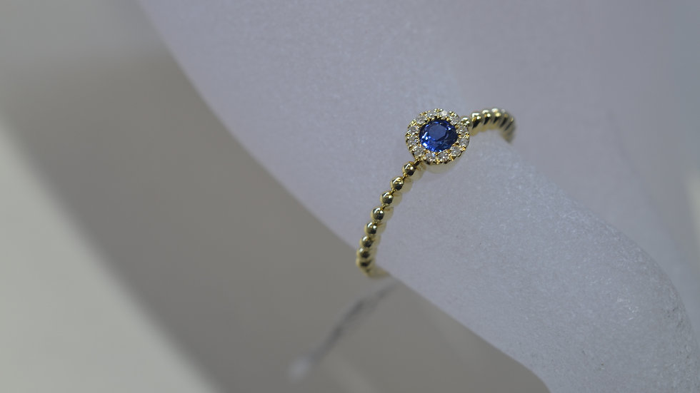 Stackable 14K Yellow Gold Sapphire Ring with Diamonds
