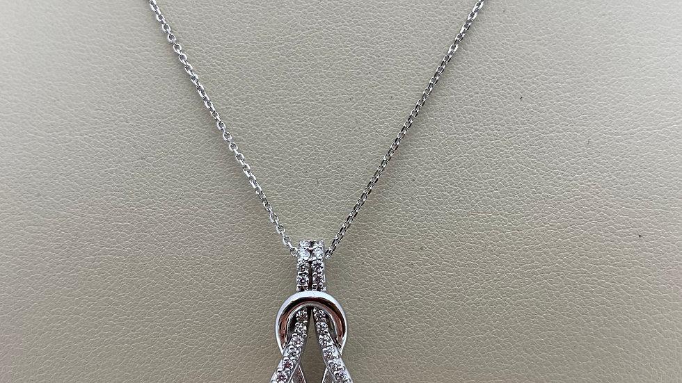 14K White Gold Love Knot Pendant with Diamonds