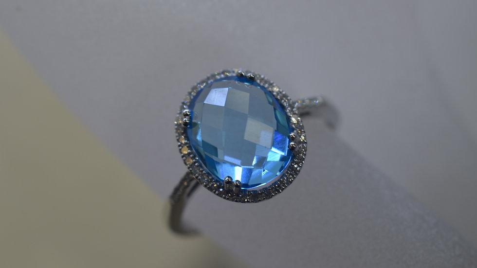 14K White Gold Blue Topaz Ring with Diamonds