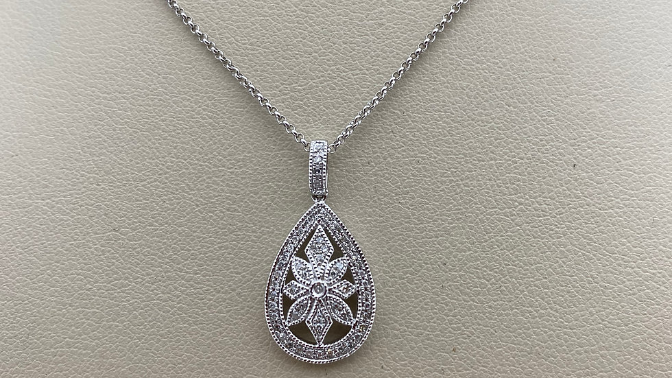 14K White Gold Pear Shaped Pendant with Diamonds