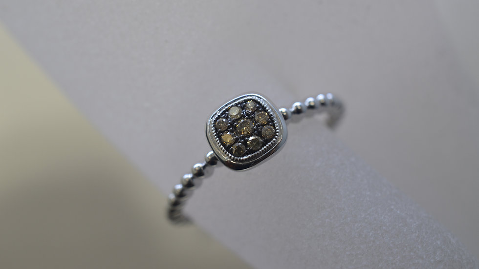 14K White Gold Ring with Champagne Diamonds