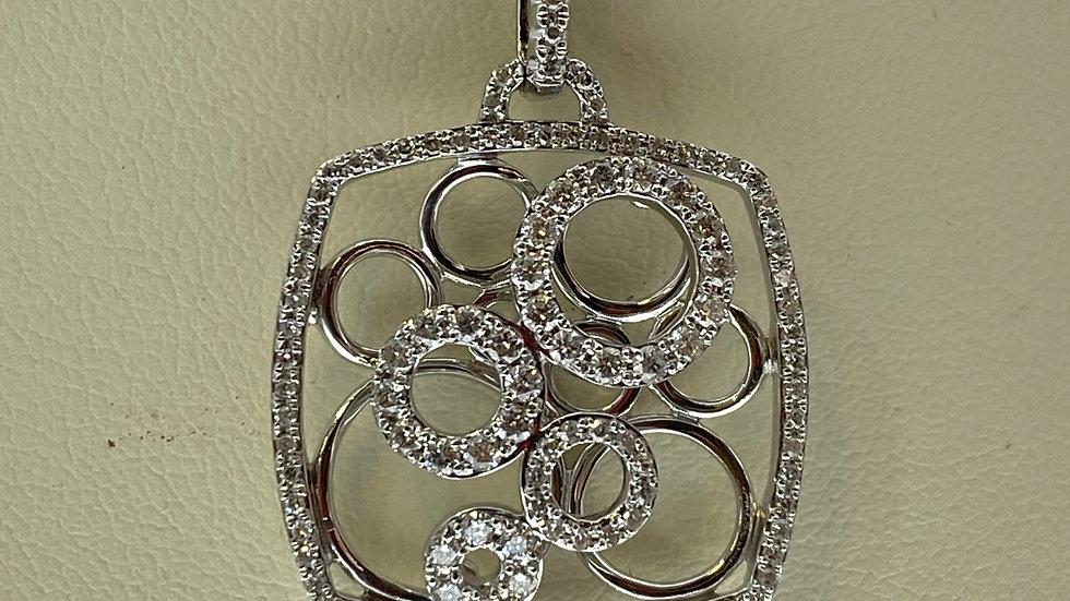 14K White Gold Box Pendant with Diamonds