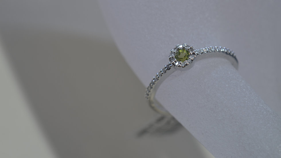 Stackable 14K White Gold Peridot Ring with Diamonds