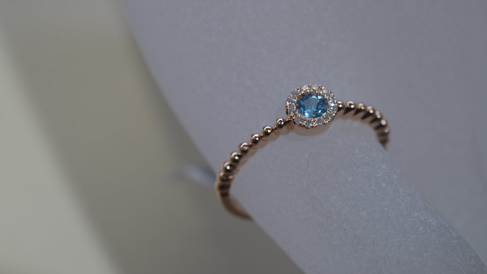 Stackable 14K Rose Gold Blue Topaz Ring with Diamonds