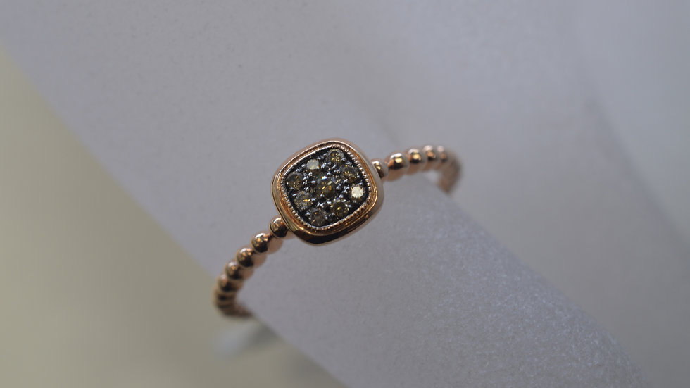 14K Rose Gold Ring with Champagne Diamonds